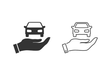 Car in hand line icon set illustration Stock fotó - 154710915