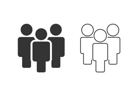 People line icon set in flat style.
