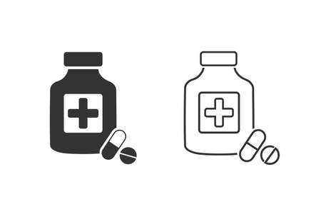 Pills with shadow line icon