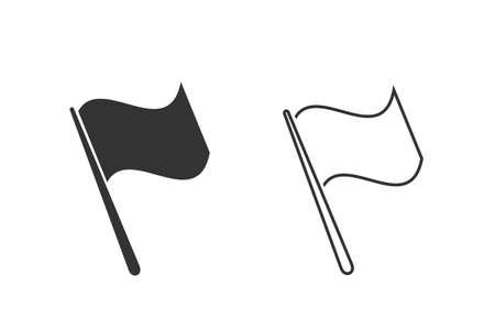 Grey Flag line icon set isolated on white background Illustration