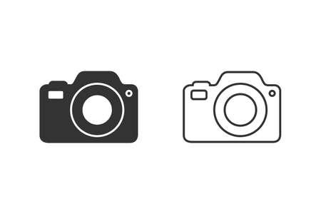 Photo Camera line icon Photography flat sign symbols illustration isolated on white background beautiful black color