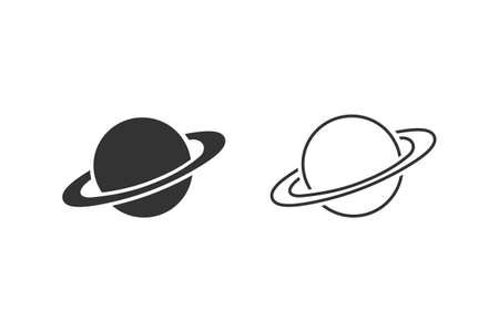 Saturn line icon set in flat style. Planet illustration on white isolated background. Galaxy space business concept