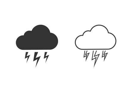 Grey Storm line icon set isolated on white background. Cloud and lightning sign. Weather icon of storm.