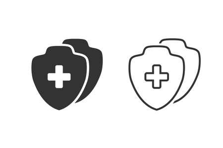Medical Shield Line Icon set shield flat health cross medical Illusztráció