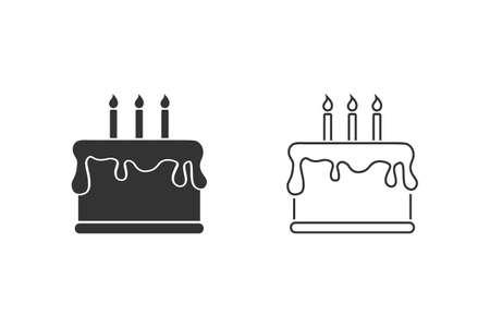 Happy Birthday and Cake Line Icon Set.