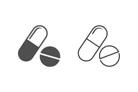 Pill line icon on white. Illusztráció