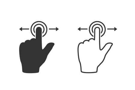 Gesture touch slide line icon set, Gesture slide icon