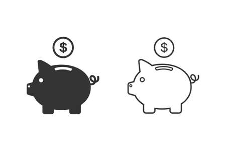 Piggy bank line icon with dollar coin and moneybox flat sign symbols illustration isolated on white background. Concepts for business banking, saving, accumulation money, budget and finance Illusztráció