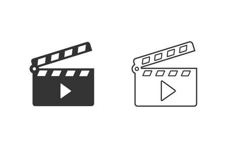 Movie clapper open line icon set.