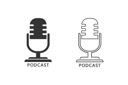 Podcast radio line icon set illustration. Studio table microphone with broadcast text podcast Illusztráció