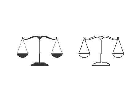 Scales line icon set illustration. Flat design