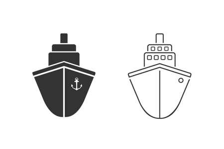 Ship line icon set. Cruise ship symbol icon illustration
