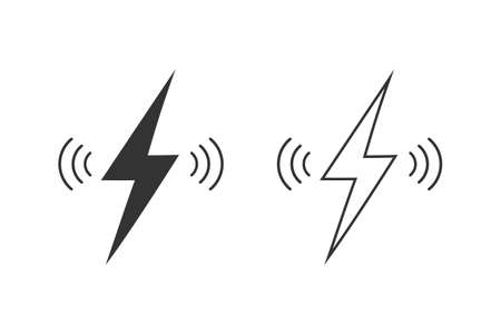 Wireless charging line icon set isolated on white background