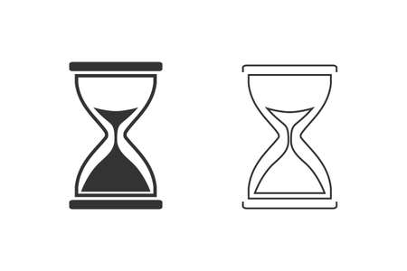 Illustration of hourglass line icon set on white background.