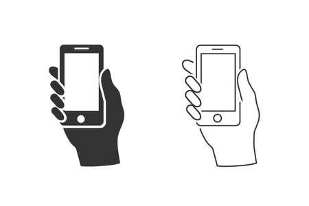 Hand hold the smartphone line icon set. Illusztráció