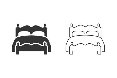 Double bed icon on white