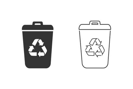 Garbage Trash can Line Icon Set. Eco Bio concept, recycling. Flat design illustration isolated on white background. Black sign for web, website