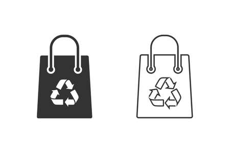 Recycling bag line icon set on white.