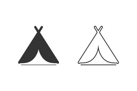 Camping tent symbol line icon set. Illusztráció