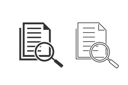 Scrutiny document plan line icon set in flat style. Review statement illustration on white isolated background. Document with magnifier loupe business concept