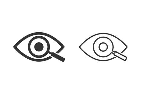 Magnifier with eye outline line icon set. Find icon, investigate concept symbol. Eye with magnifying glass.