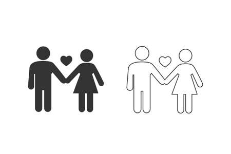 Couple icon set. Love in flat.