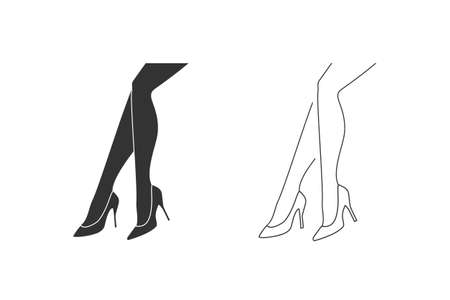 Monochrome illustration of a women legs with shoe line icon set, isolated on a white background