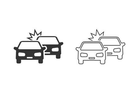 Crashed Cars line icon set on white
