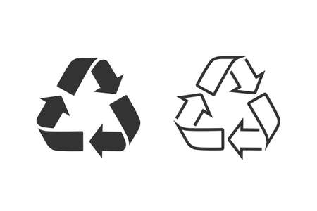 Recycle sign line icon set. Trash symbol. Eco bio waste concept. Arrow sign isolated on white, flat design for web, website
