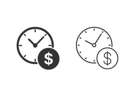 Business and finance management line icon set in flat style. Time is money illustration on white background. Financial strategy business concept