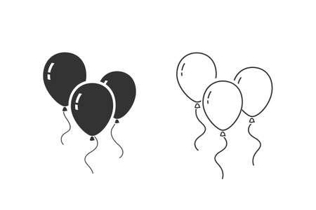 Balloons line icon set isolated on white background. Illusztráció