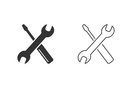 Screwdriver with key line icon set symbol. Premium quality isolated equipment element in trendy style.