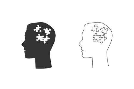 Human had flat line icon set with puzzle inside. Illusztráció