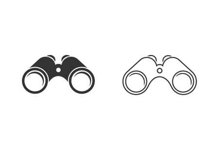Illustration of binoculars line icon set on white background.