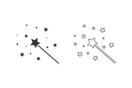 Magic Wand line icon set with star sparkle Illusztráció