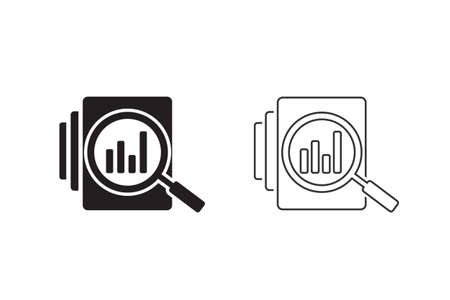 Audit document line icon set in flat style. Result report illustration on white isolated background. Verification control business concept