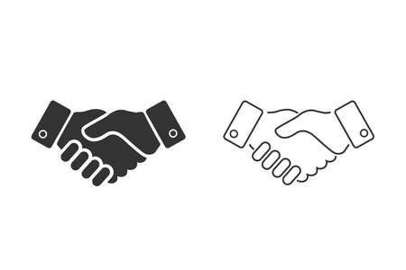 Business handshake line icon set illustration