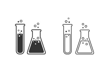 Flask Tube Chemical Laboratory Line Icon Set