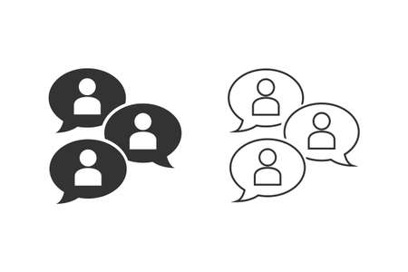 Group chat bubbles or forum discussion with multiple people chatting flat line icon set for apps