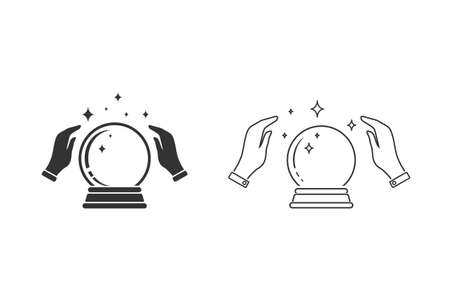 Crystal Ball Magic Line Icon Set With Hands.