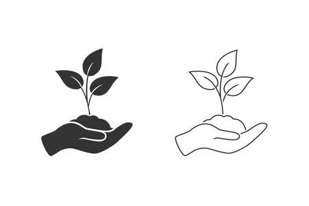 Leaf and hand, care nature line icon set