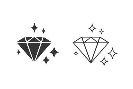 Diamond with sparkles line icon set. Gemstone symbol.