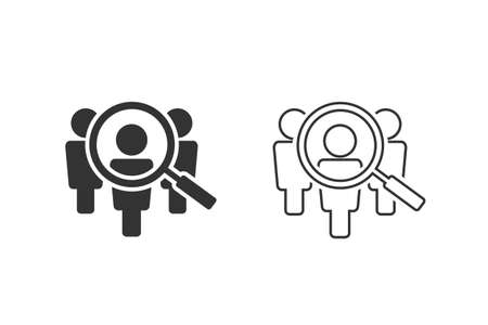 Search job vacancy line icon set in flat style.