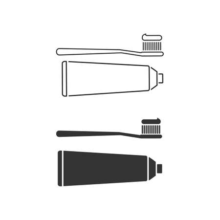 line icon set toothbrush and toothpaste. Black silhouette isolated