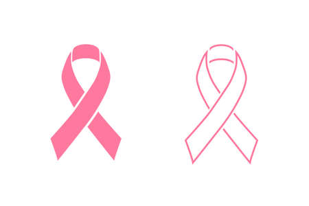 Modern breast cancer awareness with pink ribbon colorful and elegant look. Line icon set. Illusztráció