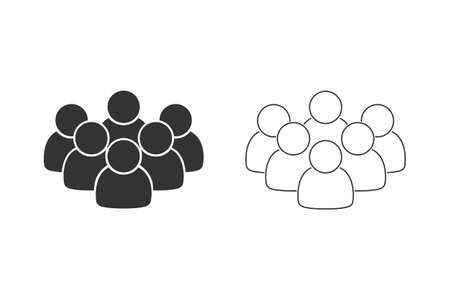 Line icon set of people in black color on white background isolated. Group of people ideal for business, startup, web. Black people on white background.Group of people Illusztráció