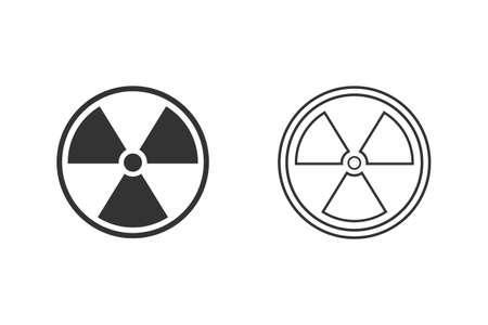Black Radioactive line icon set isolated on white background. Radioactive toxic symbol. Radiation Hazard sign Illustration