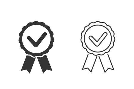 Award, medal, winner, victory flat line icon set