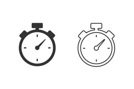 Chronometer timer isolated line icon set.