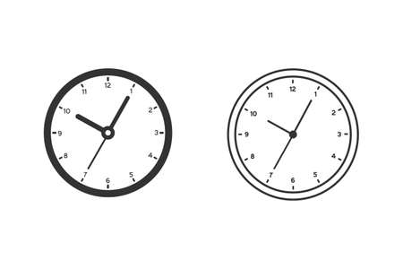 Clock sign line icon set in flat style. Time management illustration on white isolated background. Timer business concept